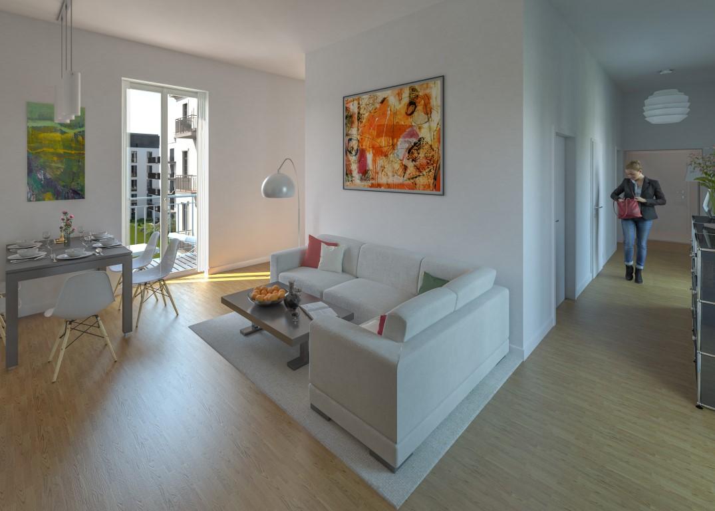 Wohn- und Eingangsbereich des Appartements