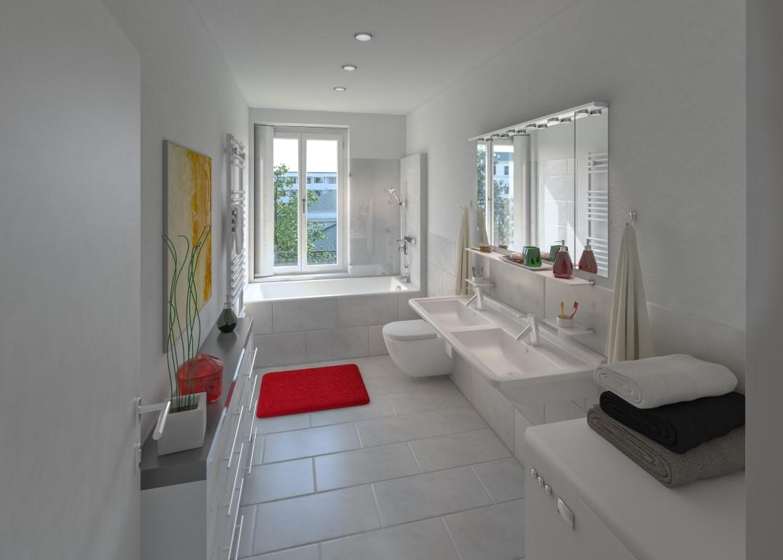 EIn großes Badezimmer in der Königsbrückerstraße