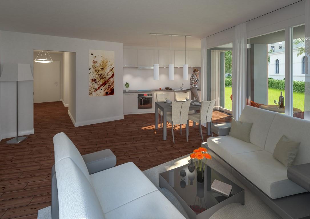 Wohn- und Essbereich der Wohnung